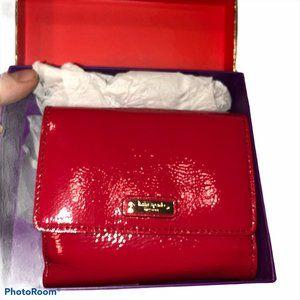 Kate Spade NIB NEW red patent leather tri fold